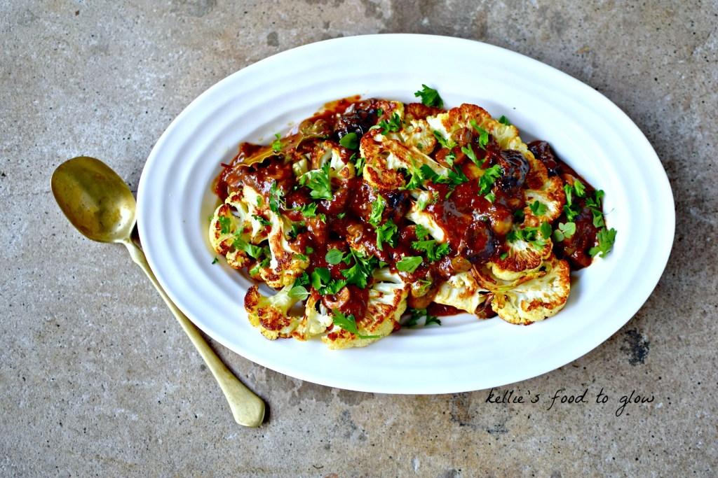 cauliflower marbella - a vegan version of the classic Mediterranean-style dish, Chicken Marbella