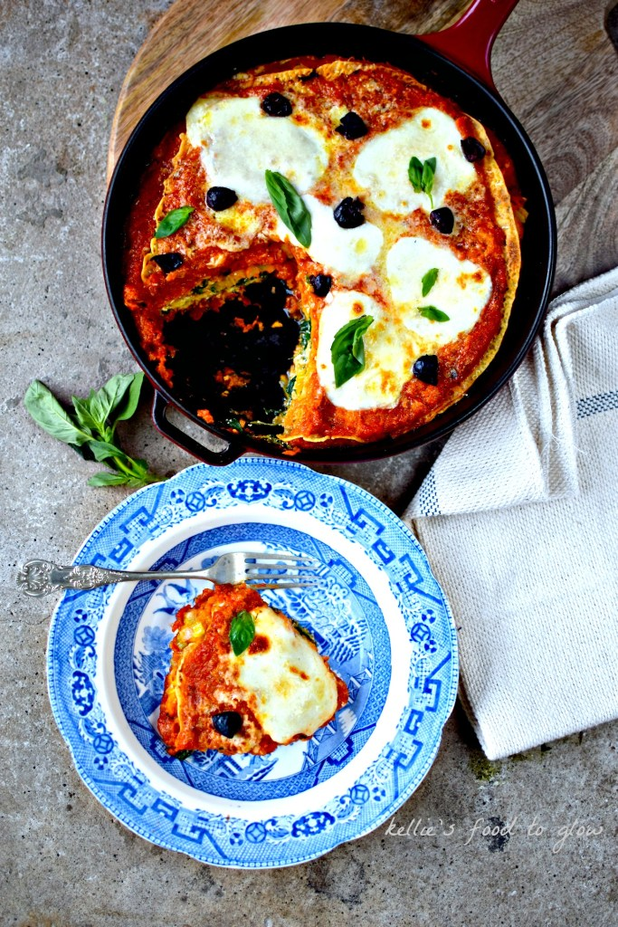 A naturally gluten-free lasagne made with chickpea pancakes (farinata/socca) and filled with three vegetable-filled sauces. A labour of love and good taste. Freezes well, so make double and stash one in the freezer or give one away to someone who needs some healthy comfort food in their life.