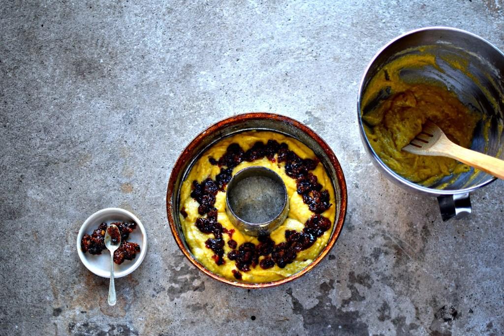 Pear. Almond and Mincemeat Polenta Cake