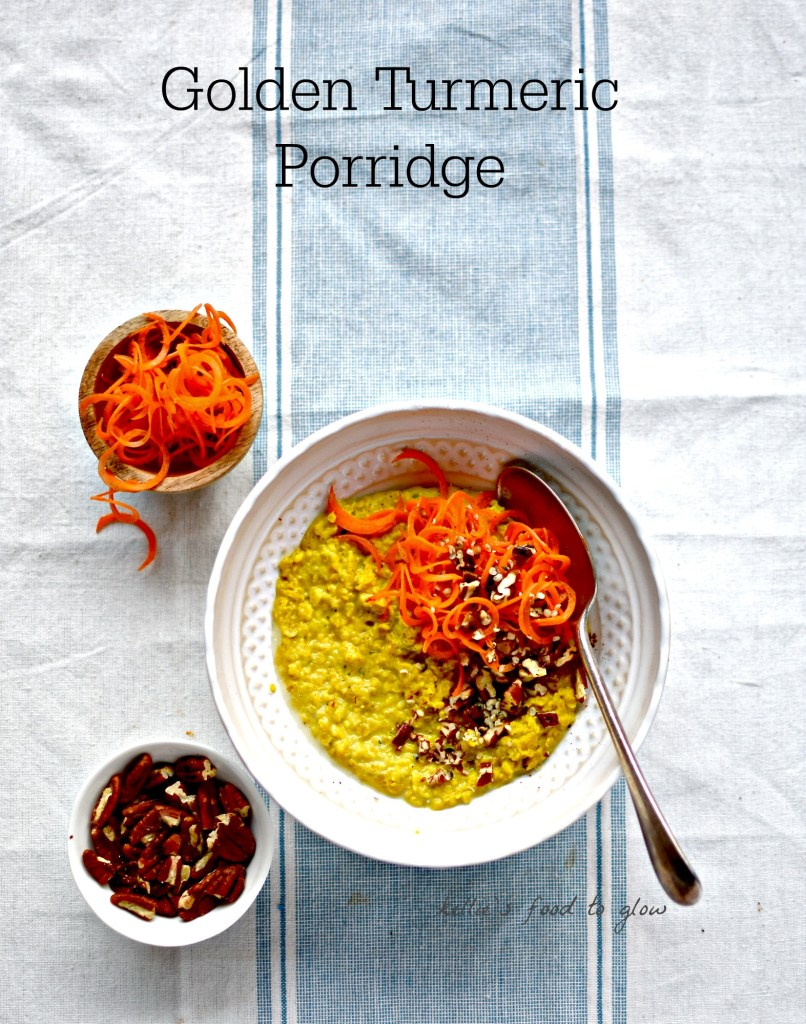 This creamy, warmly spiced porridge is a great way to get a daily does of anti-inflammatory, cur cumin, the main active compound in the gloriously golden turmeric. A perfect winter breakfast to help prevent colds and flu too.