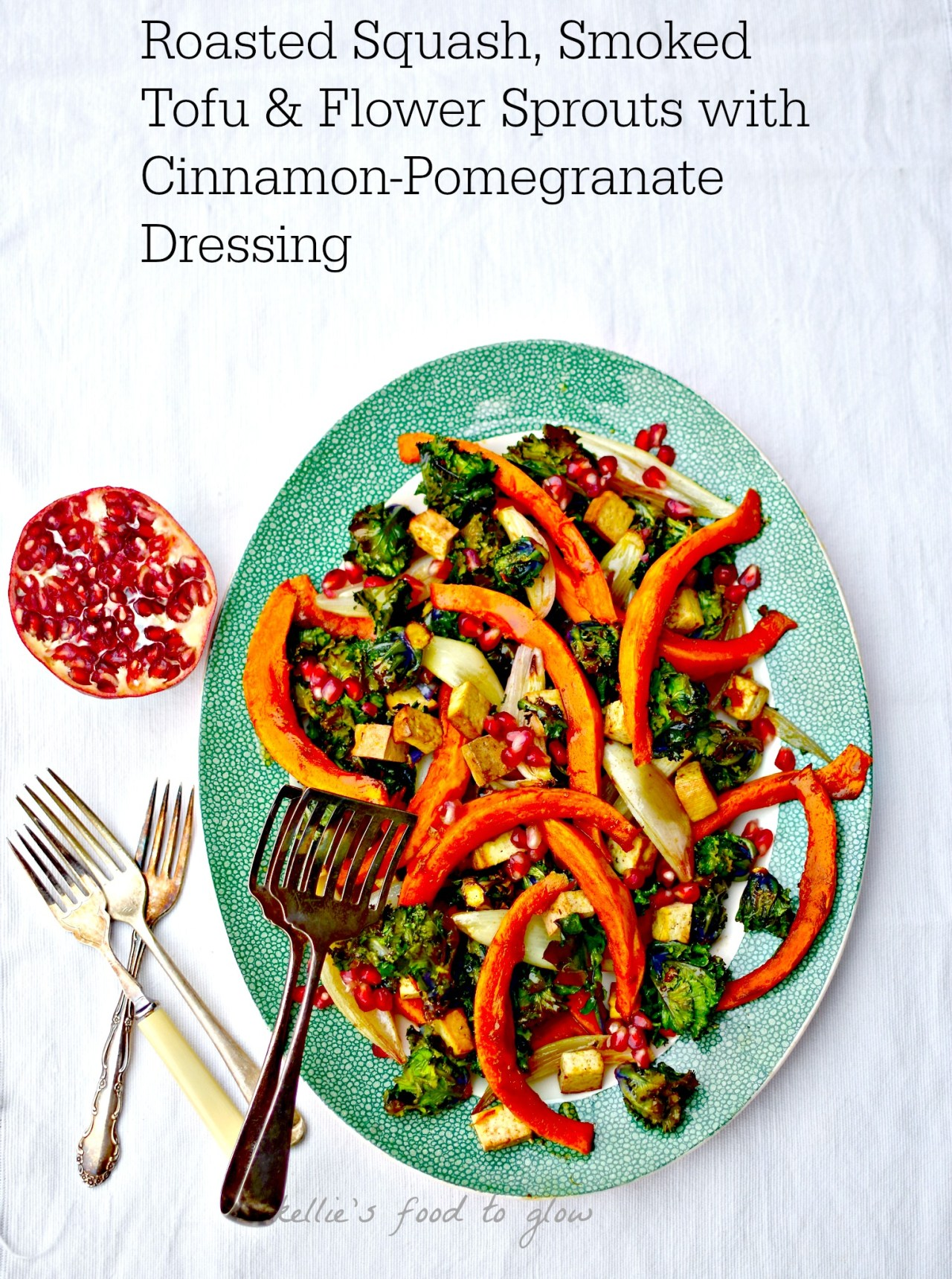 A glowing, richly flavoured easy dish with oodles of nutrients and plant goodness. The cinnamon-pomegrante dressing pulls it all together and makes it more than the sum of its parts. Vegan and naturally gluten-free.
