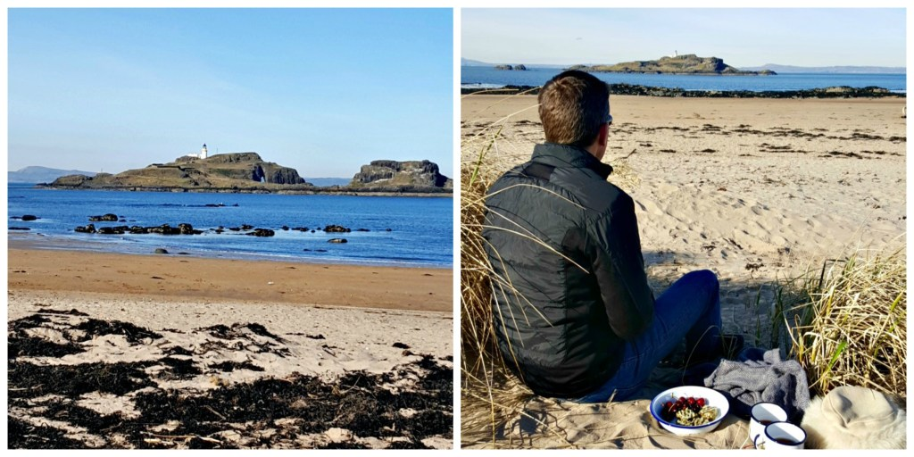 Sunday at Yellowcraigs Beach in East Lothian. Behind Andrew is a plate of green tea granola bites with yuzu drizzle - recipe coming soon!