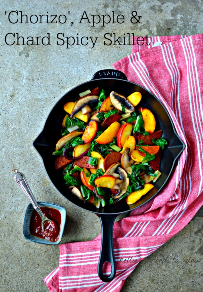 Easy midweek supper of vegan chorizo, chard, sweet apple, Portobello mushroom - perfect for the family. A fried egg on top or a handful of cooked quinoa makes it even heartier.