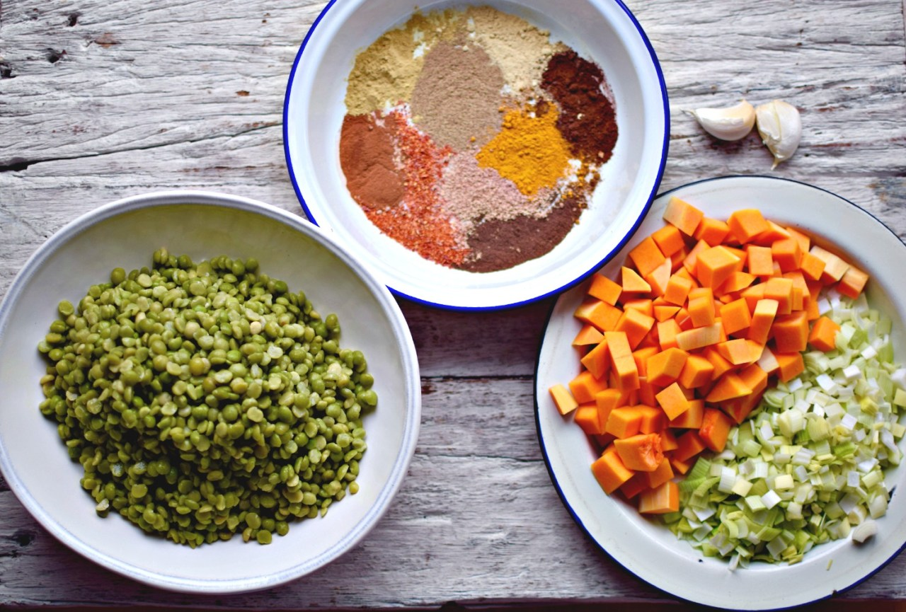 Warm exotic spices and hearty split peas makes for a comforting bowl of deeply flavoured stew. It lasts and gets better over a few days, so make enough to have leftovers, serving with traditional Ethiopian flatbreads, pitta bread, chapati or brown rice. You won't miss the meat.