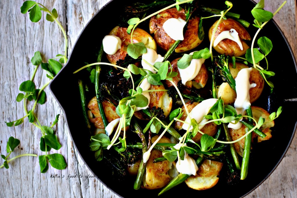 Elevate humble potatoes by pan-frying until crispy, adding some roasted broccoli and doting over homemade vegan aioli, made with aquafaba. A wonderful side dish, or make into a light supper with the addition of a poached egg.
