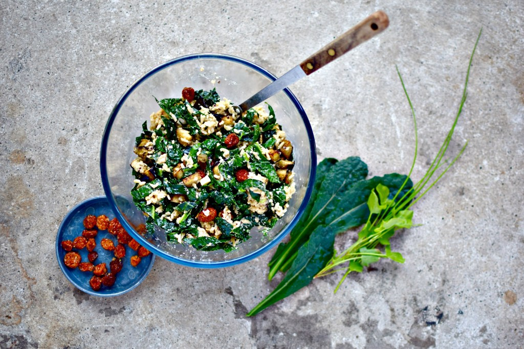 Liven up your grain salad bowls with a punchy, smokey ginger-tahini dressing and some rather interesting add ins - gorgeous dried golden berries, roasted eggplant and, um, the ubiquitous but awesome kale. A perfect phytonutrient-rich salad for now - and tomorrow's - lunch. Naturally vegan and gluten-free. Add roasted or boiled chickpeas, lentils or nuts to up the protein count.