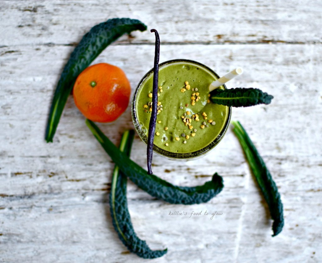 A green and healthy homage to that fruity, sweet American confection, the Orange Julius. Kale, matcha green tea powder, optional hormone-balancing and immune-boosting maca powder, and a few other good-for-you foods are blended with the usual vanilla and orange. A 21st century interpretation of a 1920s drink easily made in your blender for a nutritious breakfast, snack or post-workout drink.