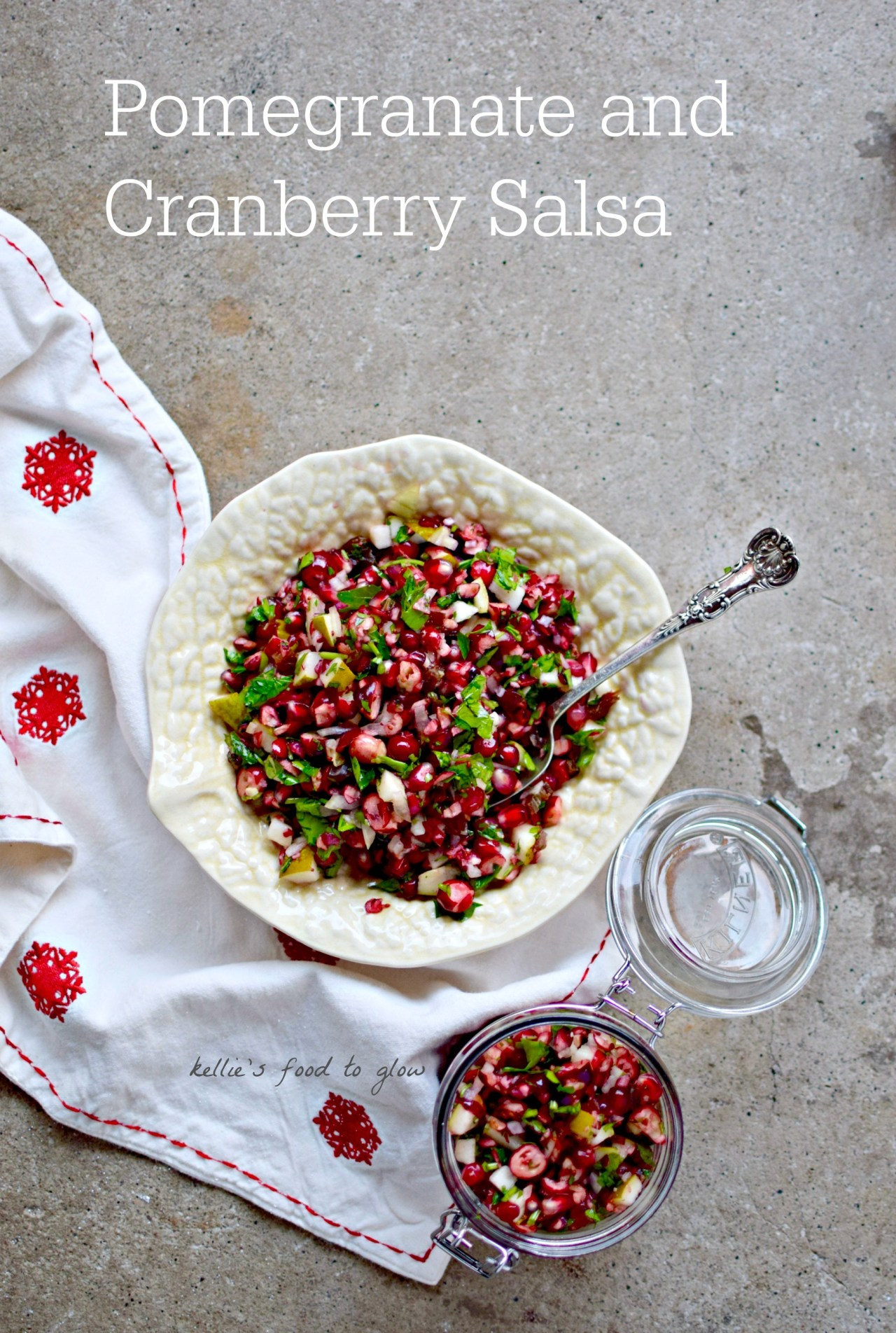 A snappy little raw pomegranate and cranberry relish cum salsa to make Christmas leftovers almost as good the second time round! It is also really fantastic with grilled or poached salmon and as a buffet salad. Add fresh slices of chilli for a proper salsa. kelliesfoodtoglow.com
