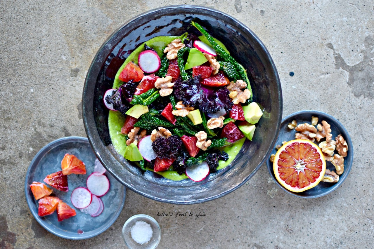 A perfect winter into spring salad for when you are craving fresh, healthy flavours, jewel-like colours and snappy textures. Blood orange, massaged kale (yep, it's still around!), creamy avocado dressing and toasty, smoky coconut flakes are what you want right now. Vegan and full of nutritious but luxurious tastes.