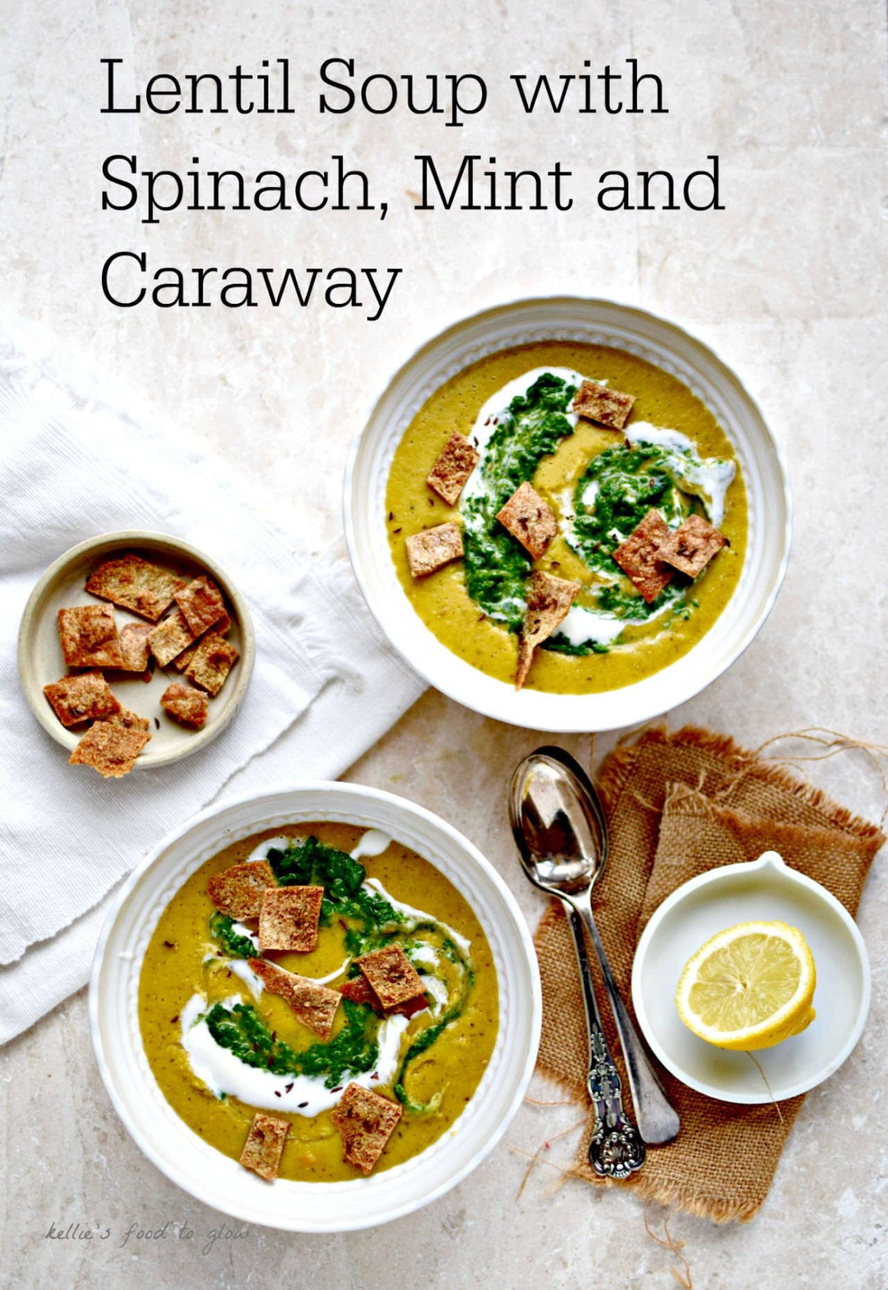 A nourishing, easy and slightly unusual version of comfort food staple, lentil soup. Top with pureed spinach and caraway pitta croutons for a dinner party version. Naturally vegan and perfect for lunch. Add optional grains to this Mediterranean diet soup while it cooks for a main meal with staying power.