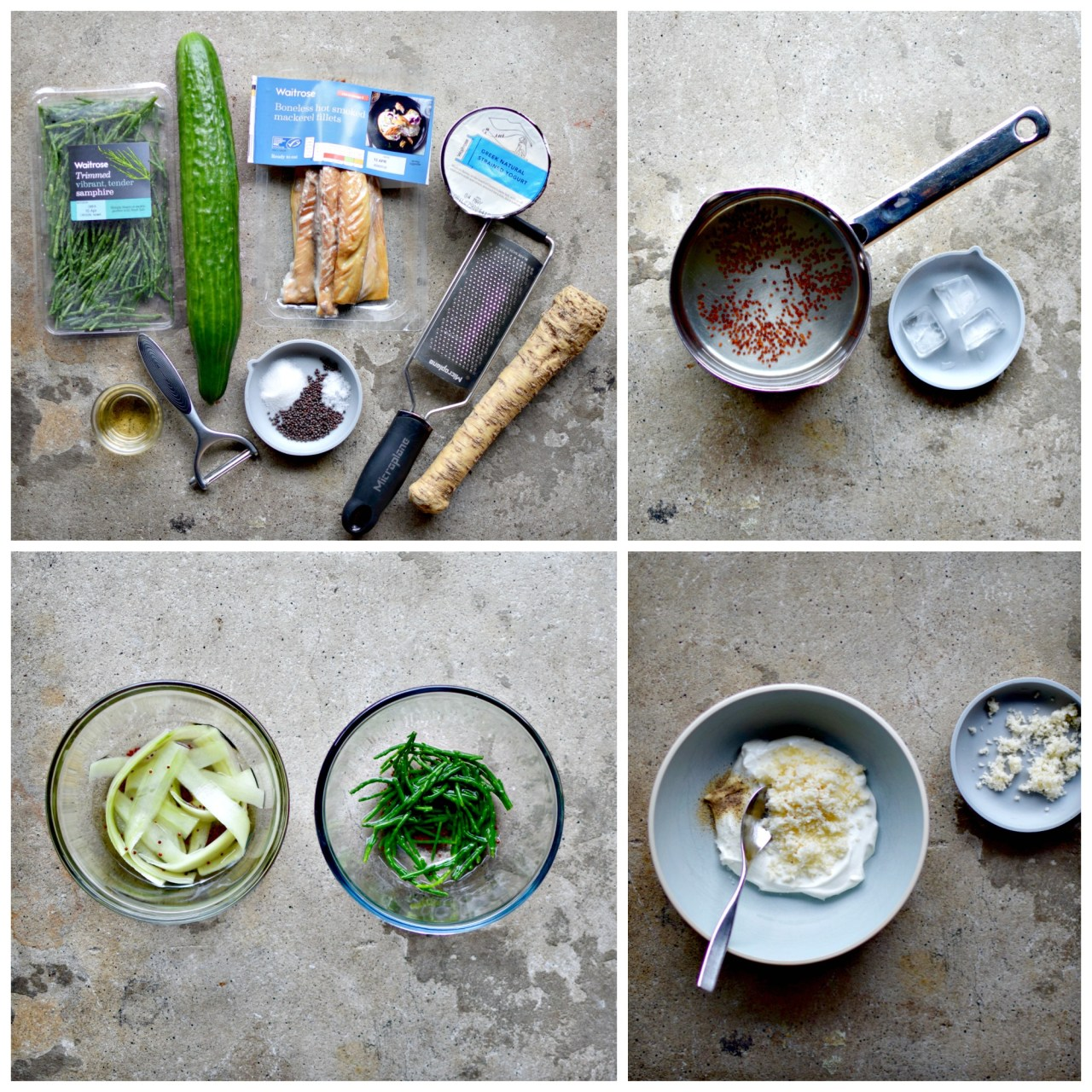 Ingredients shot - An easy starter for Easter, or a simple lunch with crispbreads, this Scandinavian-style recipe of smoked fish, horseradish yogurt cream and quick pickled samphire and cucumber ribbons is an easy way to impress.