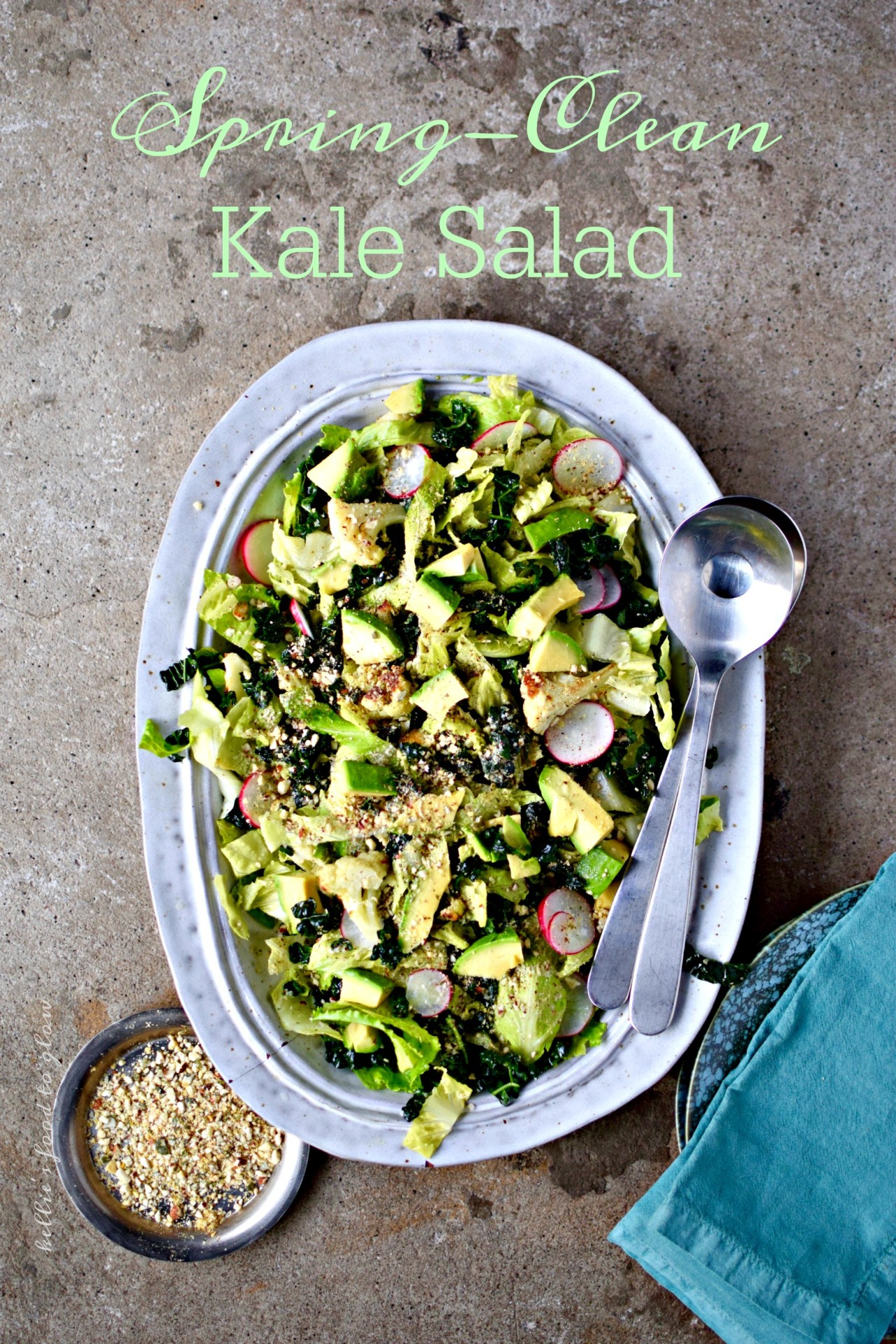 """Not a detox salad but a welcome to spring, summer and salads. Kale can be prepped the day before eating, then topped and dressed with the smoked oil vinaigrette and addictive nutty topping just before serving. This is perfect as a substantial side salad, or topped with your protein of choice for a """"meal salad"""". Add new potatoes or asparagus in spring, and pan-roasted sweetcorn in the height of summer."""