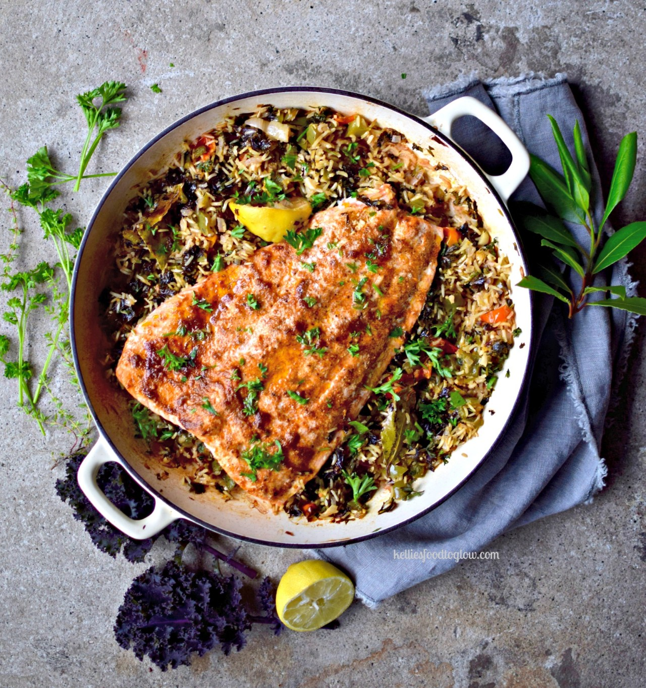 "one-pot creole salmon with veggie ""dirty rice"""