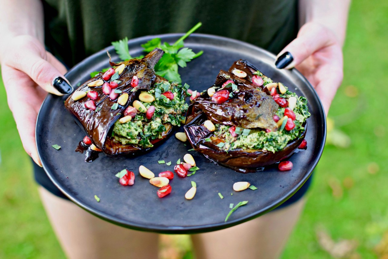 Meltingly soft eggplant wrapped around a garlicky Georgian spinach and walnut dip is a wonderful vegan starter or light lunch - delicious warm or cold. Leftover dip makes a fab, instant sauce for hot pasta. Low-carb, high-fat (good ones!) and paleo, too.