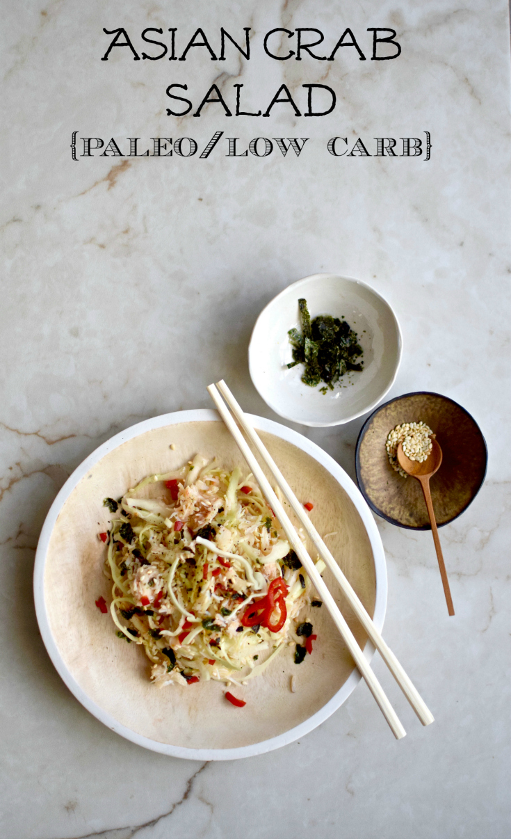 A paleo, low-carb crab and shredded cabbage salad, with Asian flavours. Easily doubled. A great light lunch for one or starter for two.