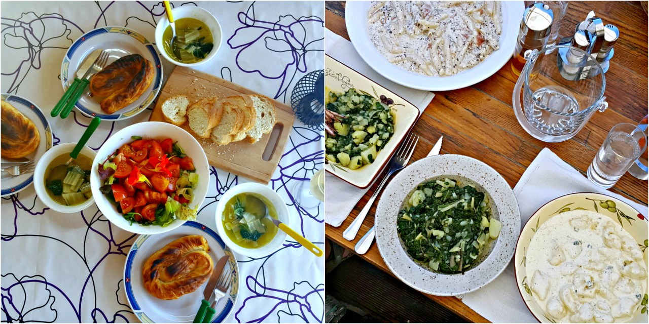 a light homemade dalmatian supper, supplemented with chard pastries + lunch out with gnocchi, pasta and blitva
