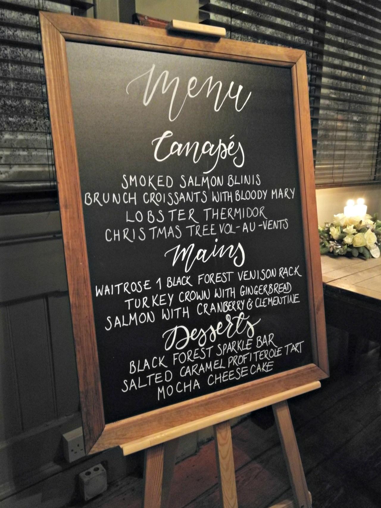 menu for waitrose christmas supper club