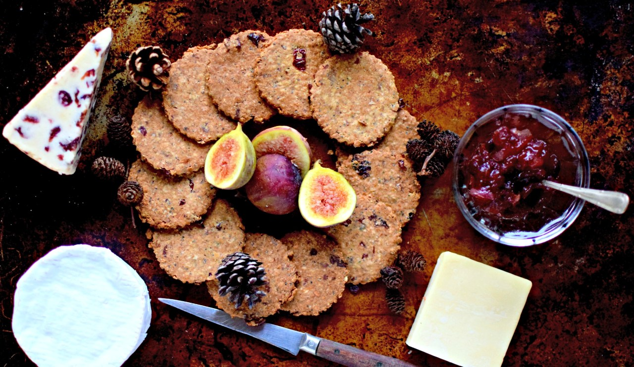 A quick, wholegrain, no-fuss fruit and nut-studded Scandinavian-style crispbread for the cheeseboard, with soup or just for nibbling.