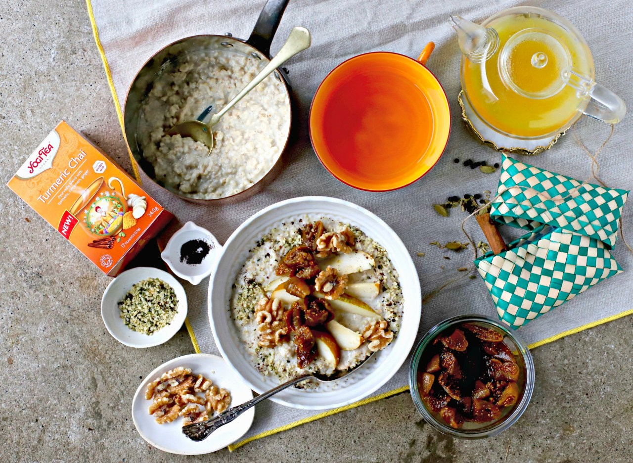 Start the day right with a breakfast of creamy vanilla bean porridge topped with turmeric chai tea figs.