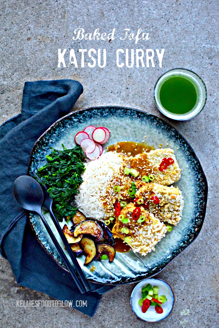 Usually a chicken dish, this baked not-fried panko-crusted tofu sits atop homemade, aromatic Japanese katsu curry sauce for a lunch or dinner to please and delight vegetarians, vegans and meat-lovers alike. A silky side of miso aubergine slivers and yuzu-splashed spinach round out this palate-pleasing recipe. kelliesfoodtoglow.com