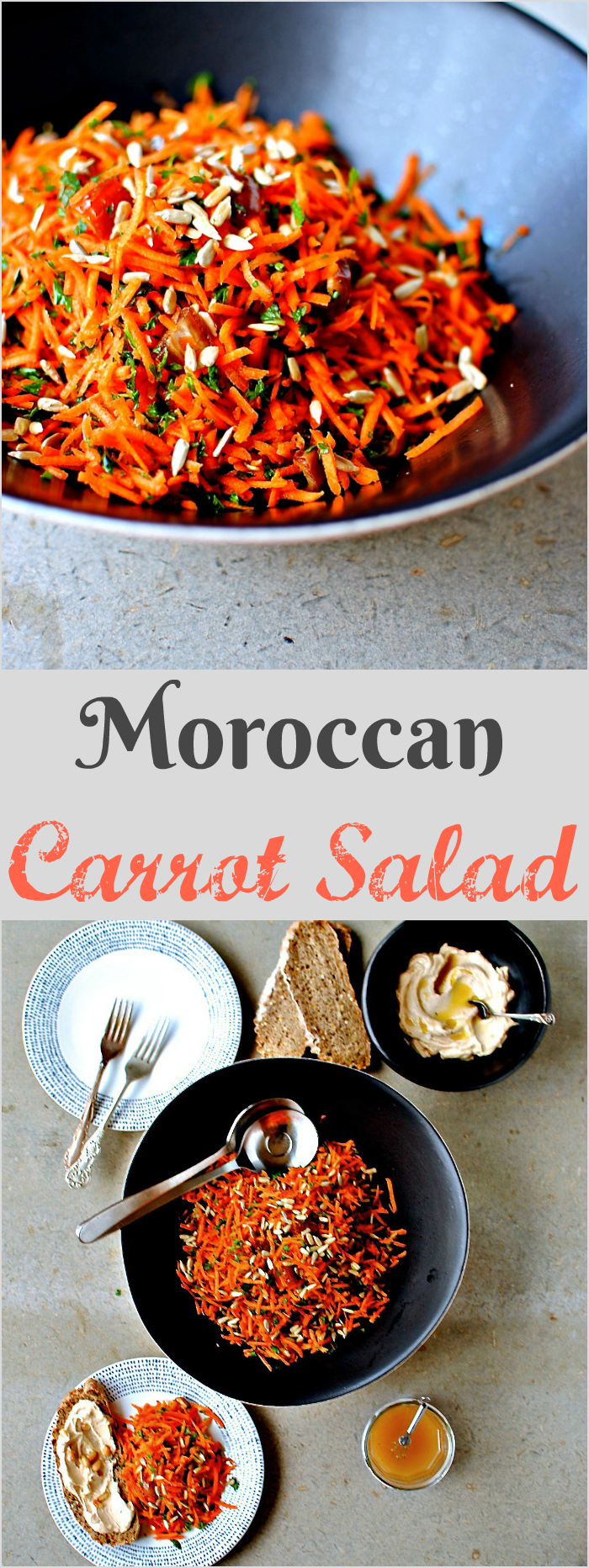 Moroccan #Carrot #Salad is a crunchy colourful and tangy side salad for alongside your favourite dips, grilled seafood, and anything vaguely North African.