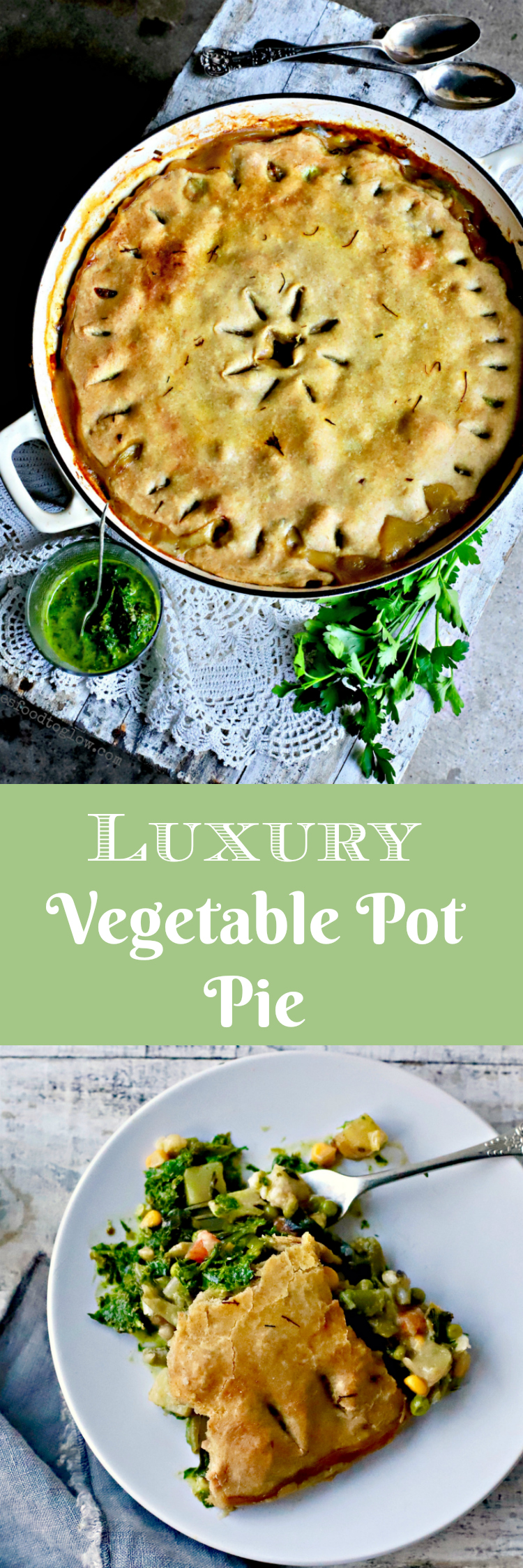 Vegetable pot pie gone a bit fancy with saffron, porcini mushrooms and an olive oil crust. This #vegan, weekend family #food #recipe will remind you of pot pies of yore, but without the saturated fat. #potpie #familyrecipe #vegetables