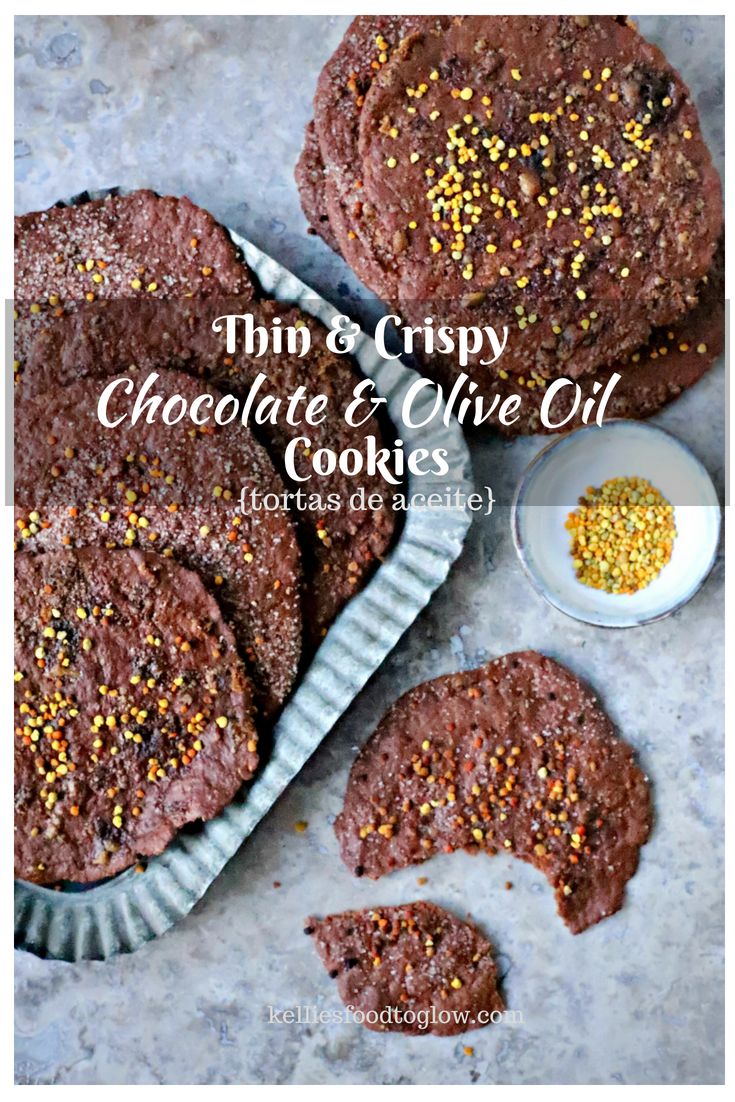 Cacao and Olive Oil Sweet Crackers are delicate, melt-in-your-mouth treats influenced by the famous Spanish sweet crackers, tortas de aceite. These crispy disks are one bowl and easily vegan and gluten-free. #baking #pastries #chocolate #healthyrecipe
