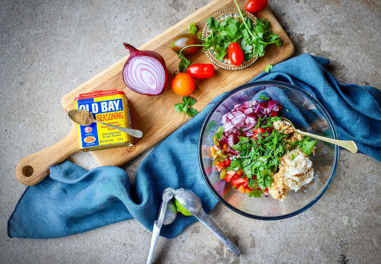 Old Bay Crab Salsa - grab a bag of cantina-style tortilla chips and dig in!  #dips #salsa #easyrecipe #crab