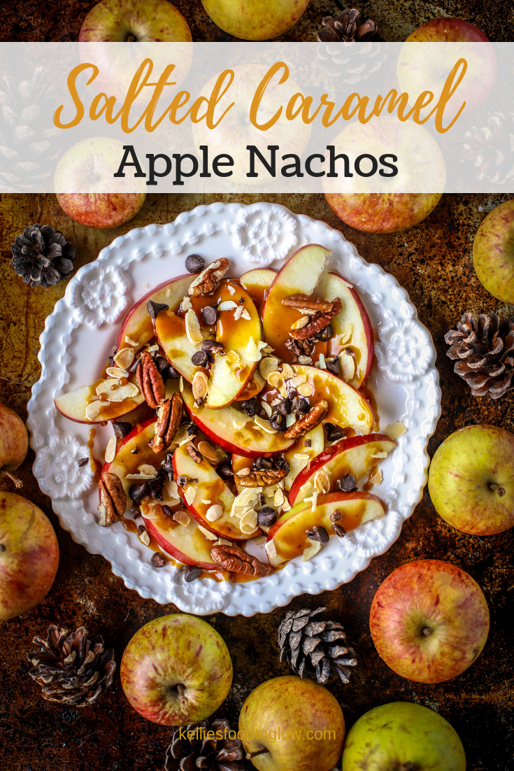 Salted Caramel Apple Nachos are your new favourite quick #snack or #dessert for the family - or just you. #saltedcaramel #easyrecipe #nocookrecipe #apples #dessertnachos