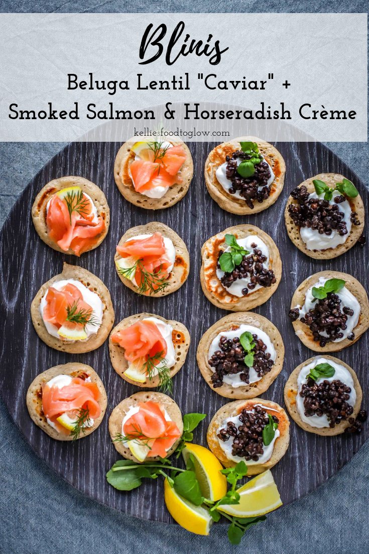 Make your own #blinis with party-style toppings - vegan and fish, and one just for the kids. Delicious, easy-to-make and freezable. For parties, celebrations, #breakfast and #snacks. #partyfood