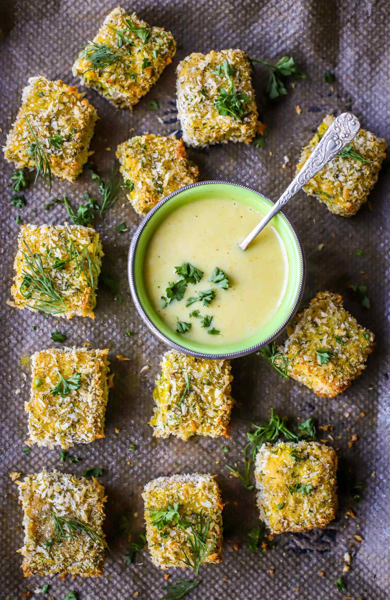 """Pop these crispy baked #tofu """"chicken-style"""" #nuggets in a sandwich, on your favourite salad, or dip them in my easy maple-mustard sauce. These versatile little #vegan bites are utterly delectable any way you eat them, and super easy to make! An #easy, nutritious, #family- and #party-friendly #recipe."""