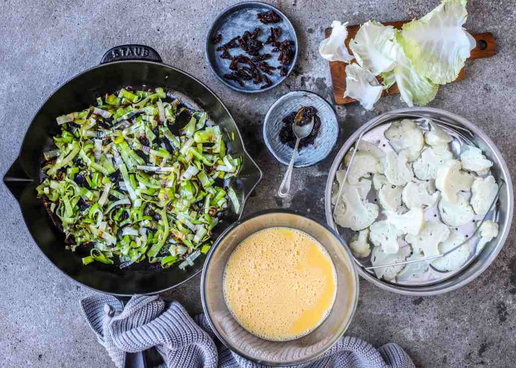 ingredients for baked chipotle cauliflower frittata