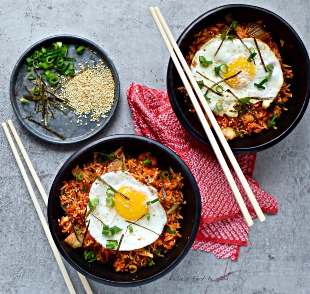 Korean kimchi fried rice bowl with fried egg