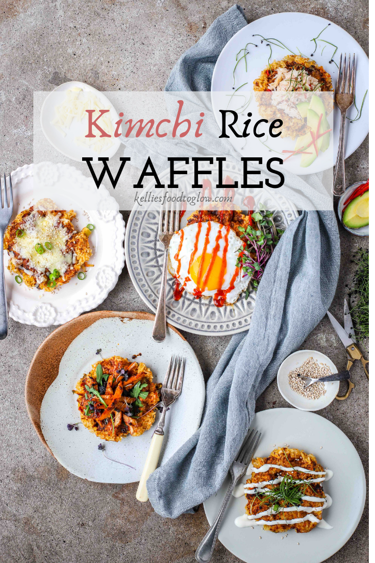 Korean kimchi rice waffles with five toppings for an easy, funky dinner or a snack.
