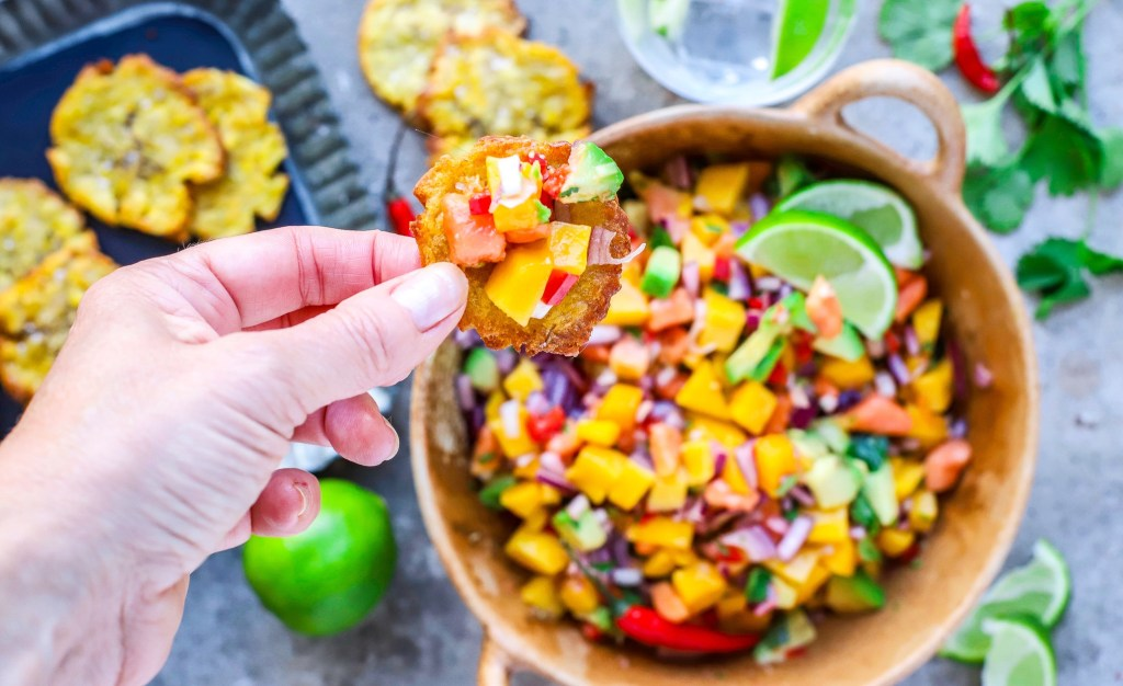 baked patacones (green plantains) and tropical salsa by food to glow