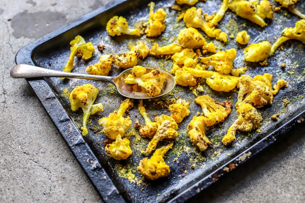 roasted cornmeal cauliflower on tray