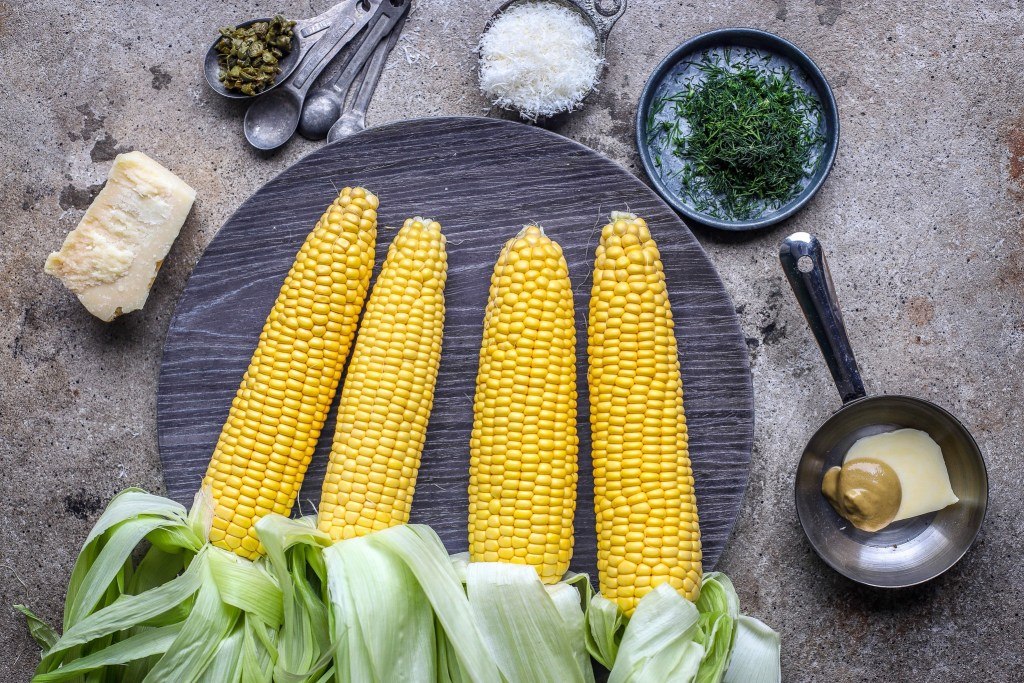 ingredients for grilled sweetcorn with parmesan and dill