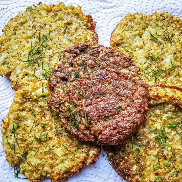 (l) baked low-carb cauliflower rostis, (one in middle is psyllium husk added);