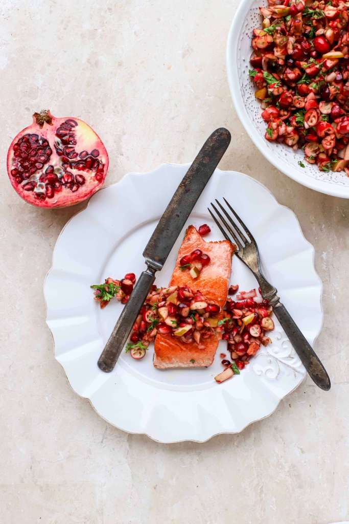 winter fruit salsa on pan-roasted salmon fillet