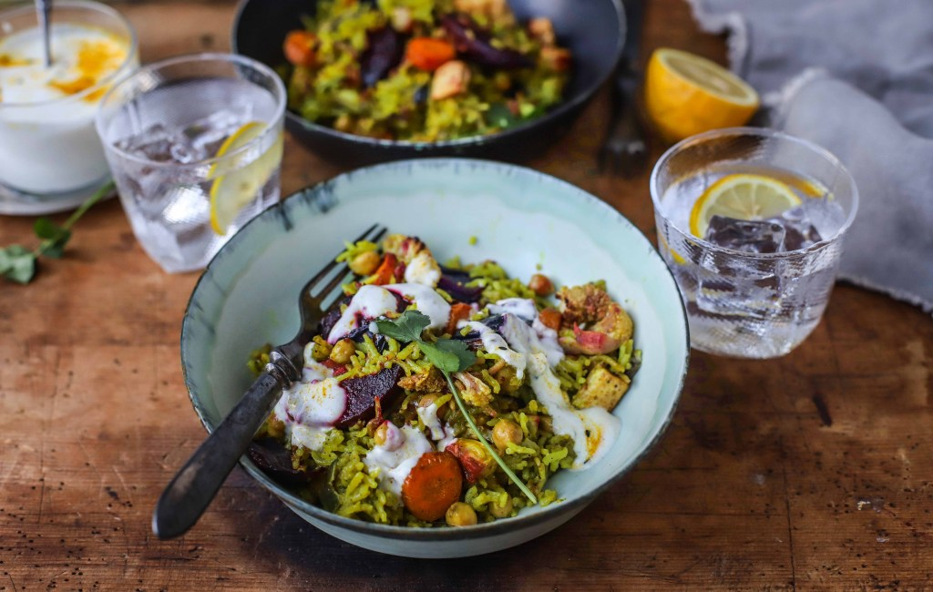 vegetable pilau rice in bowls