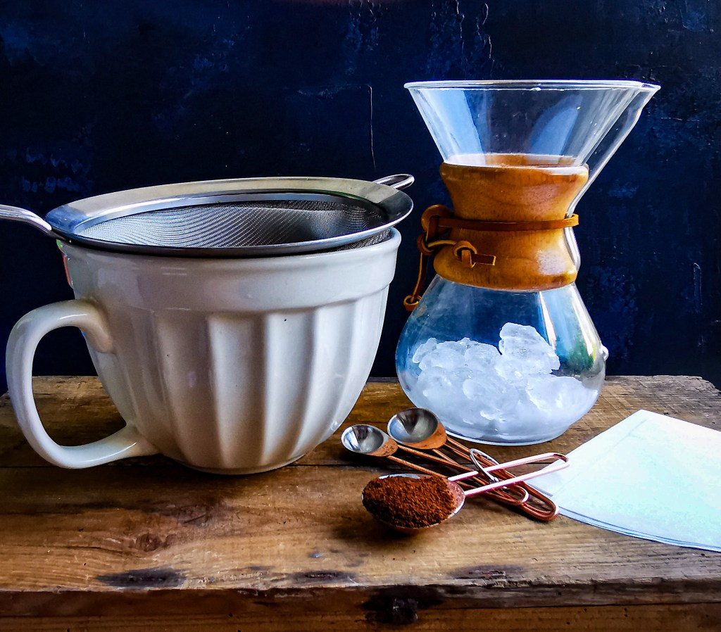 ceramic jug and Chemex coffee maker
