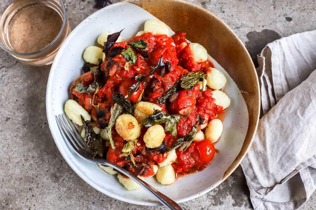 marinara sauce with seaweed and mushrooms over gnocchi