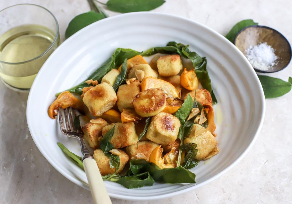 cauliflower gnocchi with squash and greens
