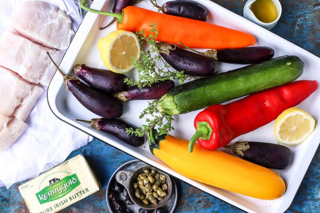 ingredients for sheet pan mediterranean fish