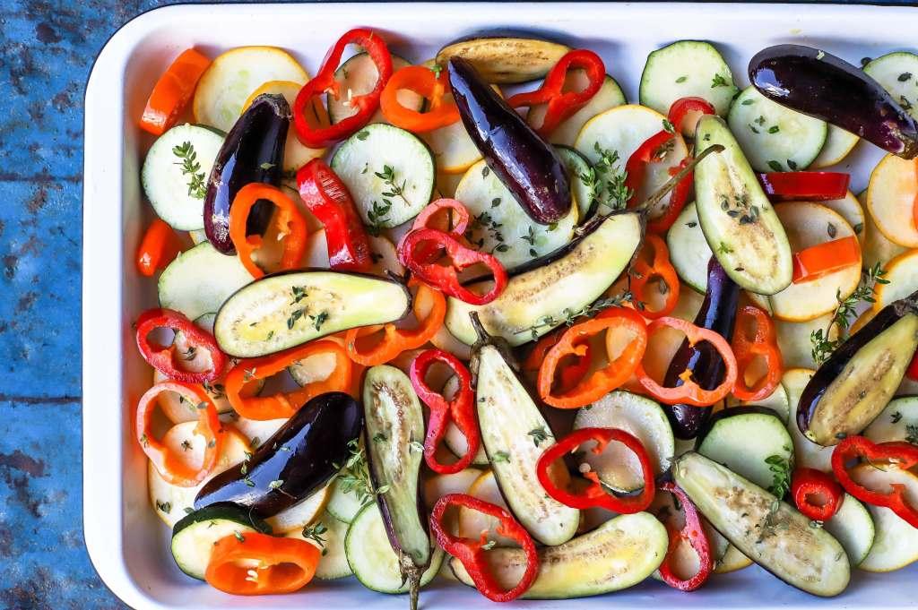 sliced mediterranean vegetables