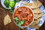 keto tortilla chips and rosted tomato salsa