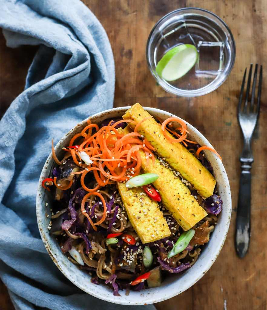rainbow noodles with spicy peanut putter sauce
