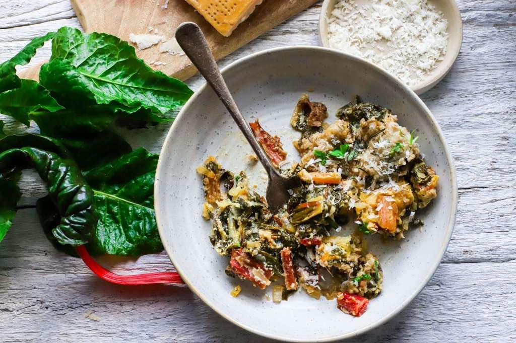 porcini mushroom and chard gratin