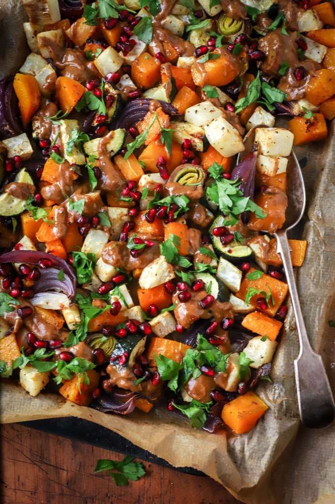tangy pomegranate and peanut butter roasted winter vegetables