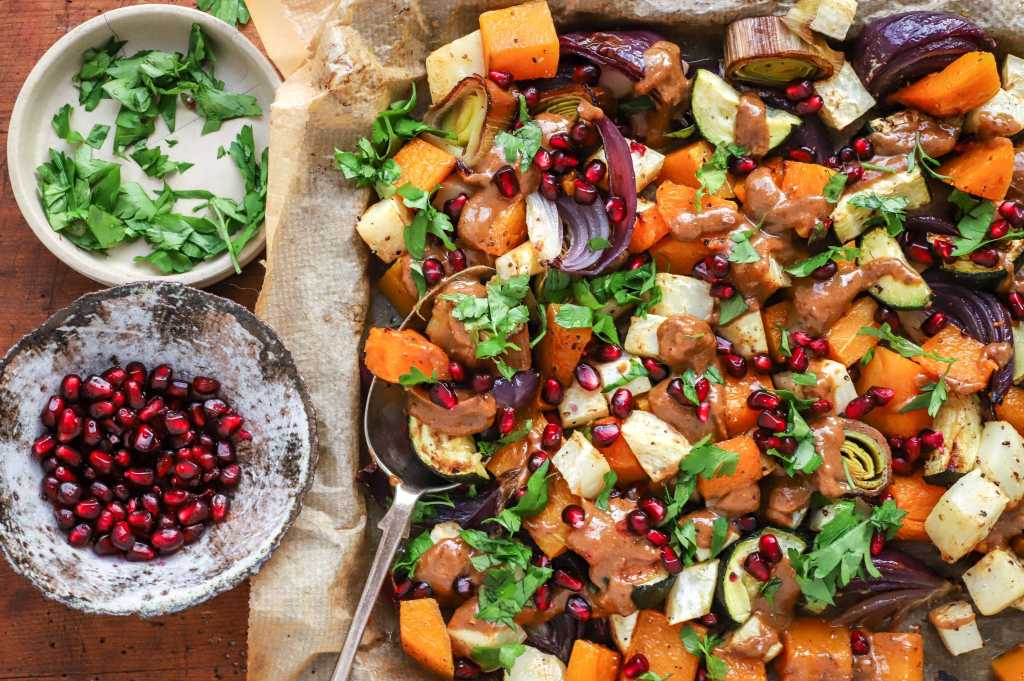 tangy pomegranate and peanut roasted winter vegetables